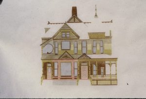 A 1980 drawing by architect Ronald D. Hales of exterior paint colors for our Queen Anne Victorian, the Andrew J. Warner House.