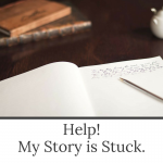 Help! My story is stuck. A workshop by Evalogue.Life. Image of a journal, pen and books on an old table.