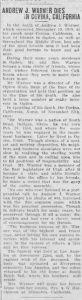 Obituary for Andrew J. Warner, Ogden Standard Examiner 1909