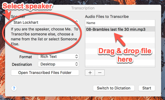 How to transcribe audio? Here is a screen shot of how to do transcription of an audio file using Dragon