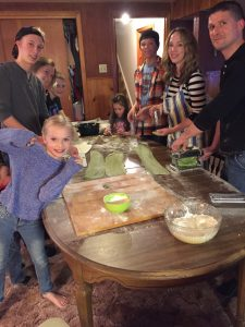 Making the tortellini with my kids and sister's family last Christmas.