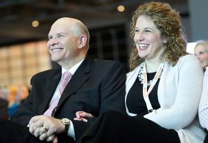 Elder Dale G. Renlund and Ashley Renlund listen to speakers at the RootsTech conference at the Salt Palace Convention Center in Salt Lake City on Saturday, Feb. 6, 2016.