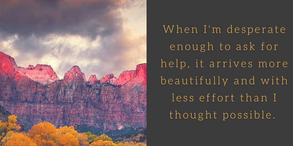 No coincidences: When I'm desperate enough to ask for help, it arrives more beautifully and with less effort than I thought possible. Image of Zion national park in autumn with story clouds overhead.