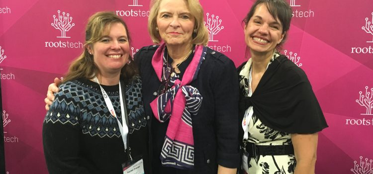 Looking forward to RootsTech 2018: L-R: Rachel J. Trotter, Sheri Dew and Rhonda Lauritzen after interview at RootsTech