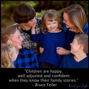 "Rachel Trotter's 6 children. ""Children are happy, well-adjusted and confident when they know their family stories. """