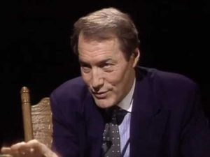 Charlie Rose interviewing Mr. Rogers