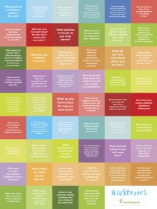 52 questions poster by FamilySearch