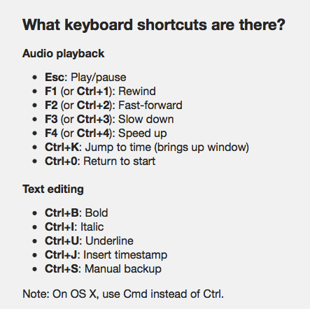 oTranscribe shortcuts