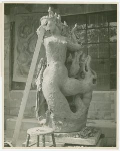 Black and white photo of fountain sculpture in process. The 10,000-hour works for the creative process in laboring to hone the craft while tapping into other-worldly forces of creativity. Image credit New York Public Library