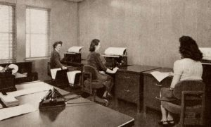 Anybody work in an old office like this back in the day? New transcription options like TranscribeMe sure beat the old methods.