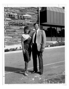 Jim Kier was a wonderful business storyteller. Here, Jim and Norma Kier are standing outside their building with the Kier sign in the background. Black and white photo taken in the mid 1980s.