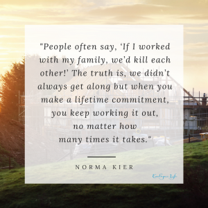 People often say, if I worked with my family we'd kill each other. The truth is we didn't always get along but when you make a lifetime commitment you k eep working it out, no matter how many times it takes. - Norma Kier