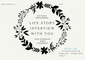 Life story gift certificate can help jumpstart the process for anyone writing a memoir