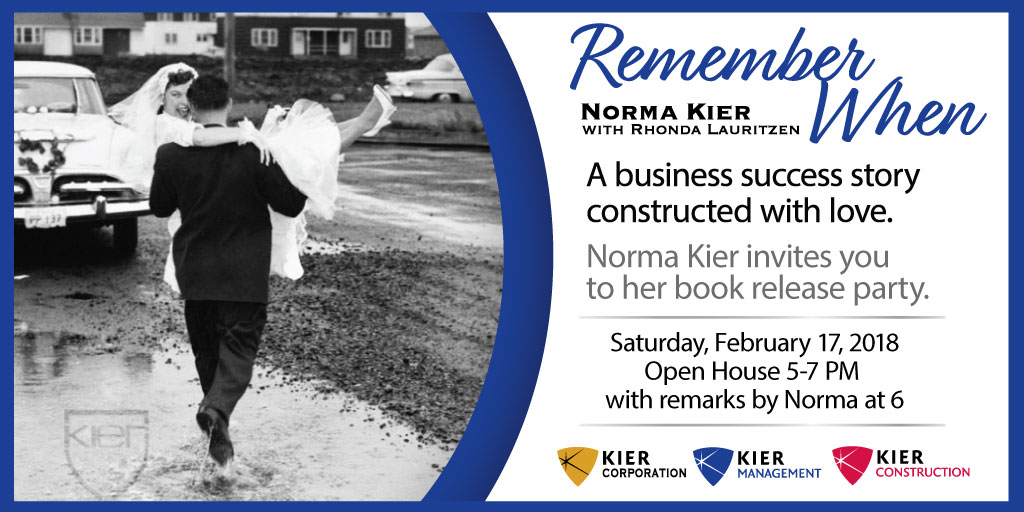 Norma Kier book release party and signing for Remember When Saturday Feb 17 2018 at the Ogden Golf and Country Club 5 to 7 pm