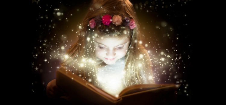 Storyboard - a young girl looks in a book with sparkles radiating from it