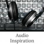 Audio Inspiration - a workshop by Evalogue.Life. Photo of a keyboard and headphones for editing audio.