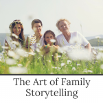 The art of family storytelling - a workshop by Evalogue.Life to help you write your story. Photo of four generations of women in a wildflower meadow.