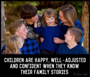 Bruce Feiler writes that children are happy, well-adjusted and confident when they know their family stories.