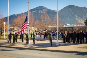 Why do we celebrate Veteran Day on November 11 like at this flag raising at the Ogden-Weber Applied Technology College? That was the daywhen an armistice, or temporary cessation of hostilities, between the Allied nations and Germany went into effect on the eleventh hour of the eleventh day of the eleventh month in 1918