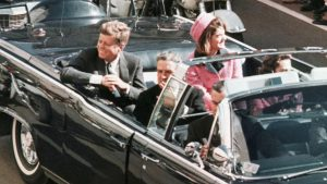 JFK and the First Lady Jacqueline Kennedy in the motorcade in Dallas the day Kennedy was assassinated in November 1963.