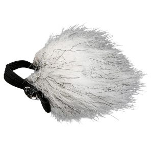 Fuzzy microphone windscreen that looks like a lucky rabbits foot. You put this over a lapel mic to reduce popping sounds.