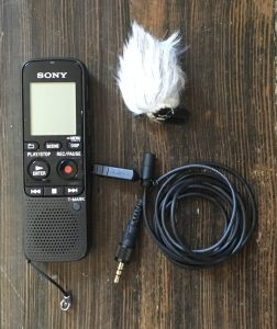 The Sony-ICD -PX333 digital recorder with microphone and windscreen I use to get family stories outdoors. Click on photo to order it on Amazon.