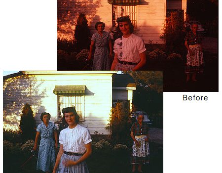 1950s Photo of a young woman before restoration, faded and with red tint. After shows clear image with vivid colors.