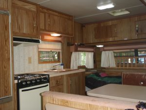 Inside our cozy trailer reminds me how much more we have than pioneer ancestors, even while camping