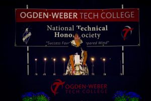 Rhonda Lauritzen at National Technical Honor Society induction while serving as a VP at the Ogden-Weber Technical College. This is where I learned the power of becoming a business storyteller.