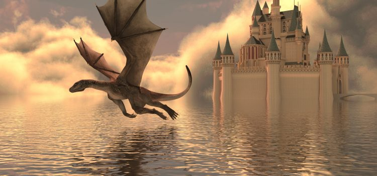 Dragon by Nuance is my favorite tool for transcribing audio and oral history. Painting of a dragon and castle.