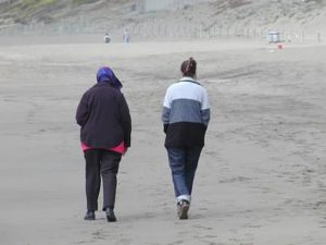 As I am losing my mom to dementia, I think of how she has always been like the sea reassuring me. Here I am walking with her by the ocean 15 years ago.