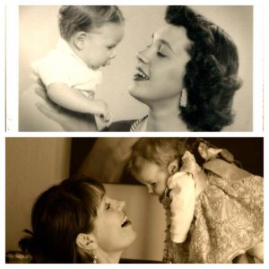 Losing my mom: this is a photo of my mom with my oldest brother, and a throwback photo of me holding my daughter in the same pose