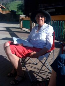 My mom, Gaye Anderson, the weekend we read her book aloud. We published Every Essential Element after polishing it up.