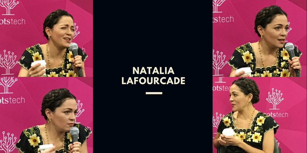 4 images of Natalia Lafourcade in candid interviews at RootsTech