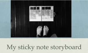 Write a redemption story with a storyboard. This is a sticky note storyboard I have sketched