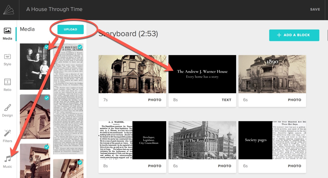 Animoto review: screen shot showing what it looks like in Animoto when you upload photos and move them around