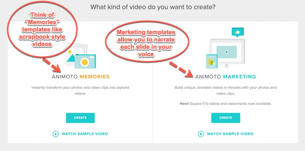 Screen shot from Animoto - choose your template from either the marketing section or the memories options. Memories are more like animated scrapbooks. These do not allow voice narration. Marketing templates are cleaner and allow you to narrate each slide. You can also choose square or landscape formats.