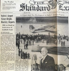 Ogden Standard Examiner clipping from the opening of the Ogden Hinckley Airport - digitized from the University of Utah special collections