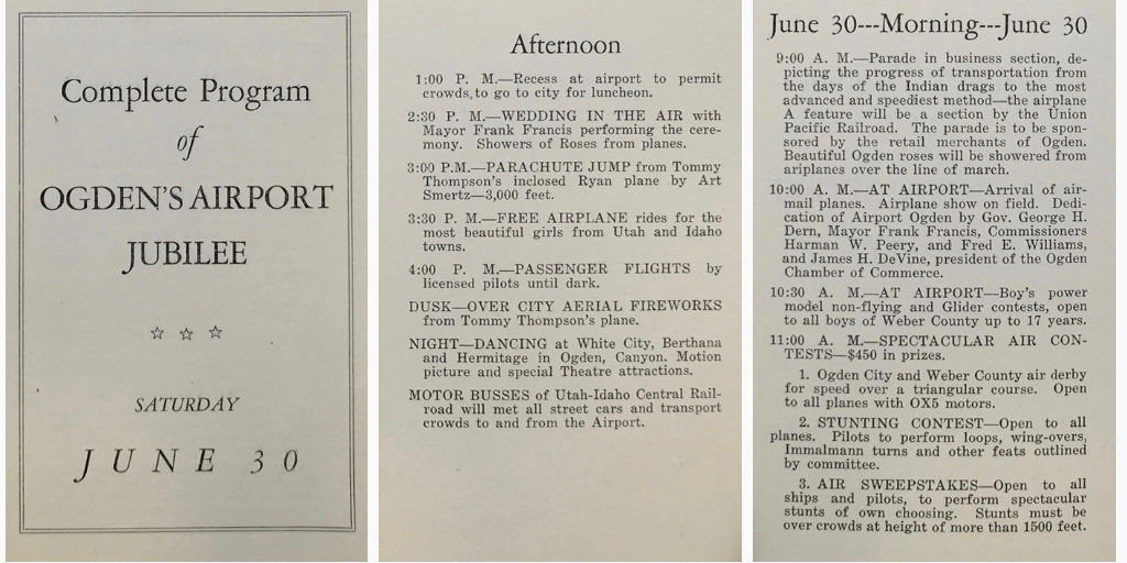 Ogden Airport Jubilee program - from the University of Utah special collections