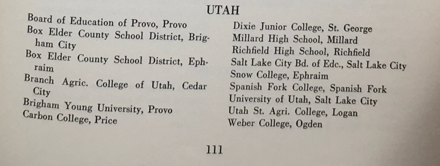 Utah Civilian Pilot Training Programs from book The Putt Putt Air Force, p. 111. see full citation below.
