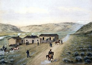 Union troops in Wyoming, a painting by William Henry Jackson. St Mary Rocky Ridge