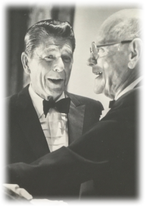 Ronald Reagan gives Robert H. Hinckley the Brotherhood Citation Award. Photo digitized from the Hinckley Institute of Politics