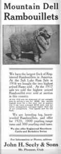 Ad for Mountain Dell Rambouillets John H. Seely & Sons - From National Wool Growers magazine around 1920