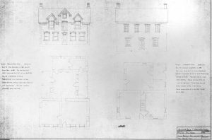 Architectural rawing of the Behunin-Beck House from Vernacular Architecture study. Drawing owned by Dr. Thomas Carter and shared with permission.