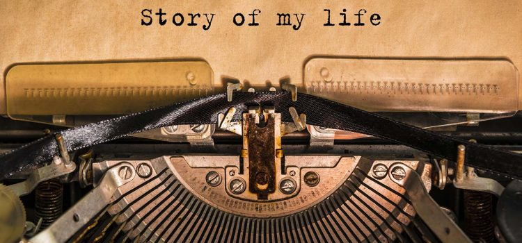 "Typewriter with paper typed, ""Story of my life."""