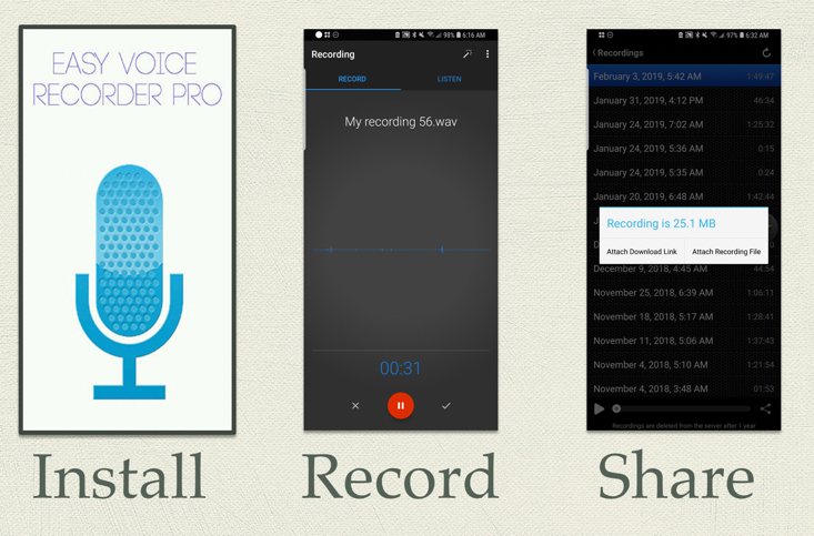 Voice recording apps: This is a series of screen shots from easy voice recorder pro