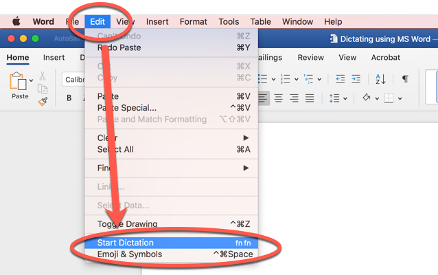 Screen shot showing how to dictate with Microsoft Word 360. Select Edit menu then select start dictation