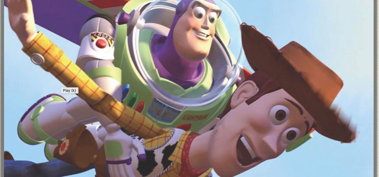 Toy Story 1- image of Buzz and Woody flying through the air. The theme of selfless friendship reaches a high point in this moment, literally and figuratively.