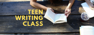 Teen writing class- 2 students sitting at a wooden table with books and diaries
