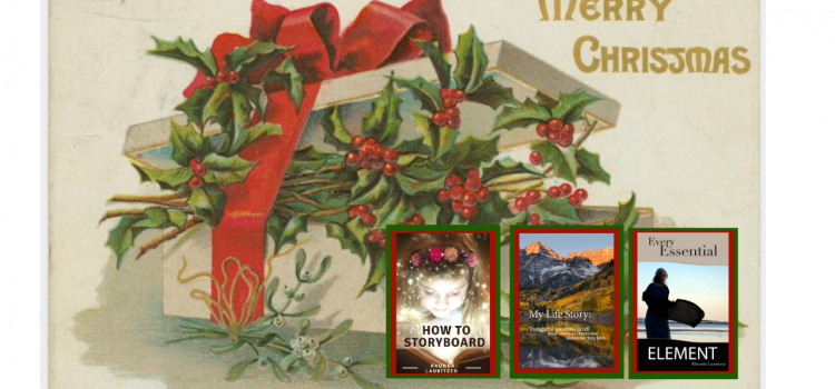 Vintage Christmas card that says Merry Christmas and has a package bursting with holly and tied with a red ribbon. Three ebook covers are superimposed in the corner.